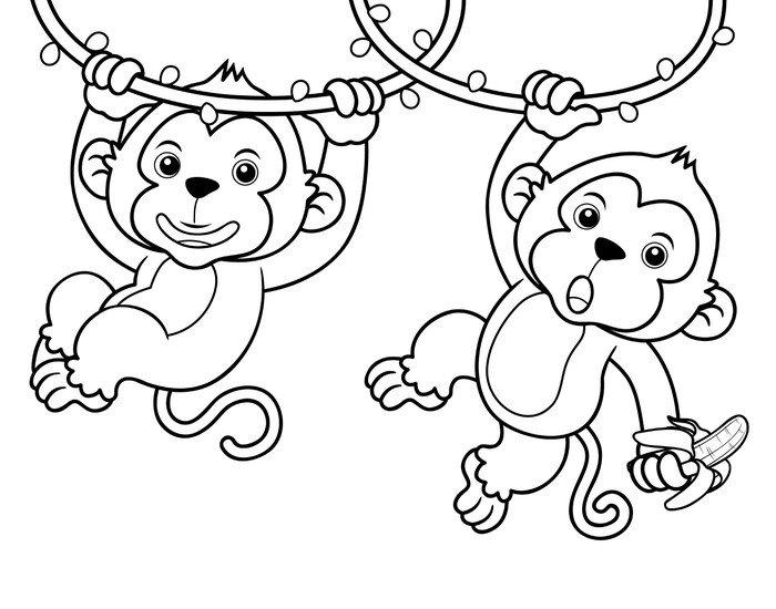 Cuadro en Lienzo Ilustracin de dibujos animados de monos  Libro