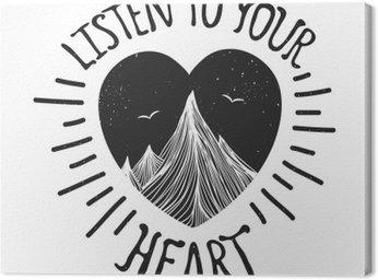 Cuadro en Lienzo Ilustración del vector con montañas en el interior del corazón