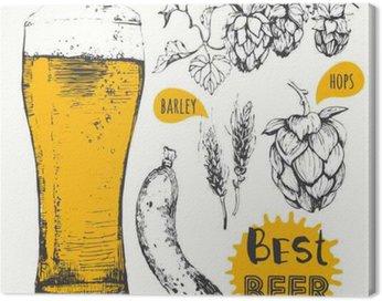 Cuadro en Lienzo Ilustración del vector de cerveza y salchichas. menú de pub.