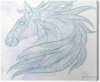 Cuadro en Lienzo La cabeza con dibujos del caballo sobre el fondo del grunge. África / diseño indio / tótem / tatuaje. Se puede utilizar para el diseño de una camiseta, bolsa, tarjeta postal, un cartel y así sucesivamente.
