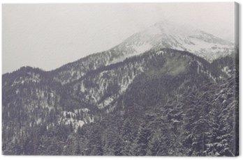 Cuadro en Lienzo Las nubes se mueven sobre pico de la montaña lejana