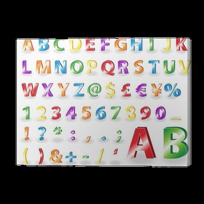 Cuadro en Lienzo Letras del alfabeto metlicos con sombras