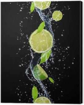 Cuadro en Lienzo Limes en salpicaduras de agua, aislados en fondo negro