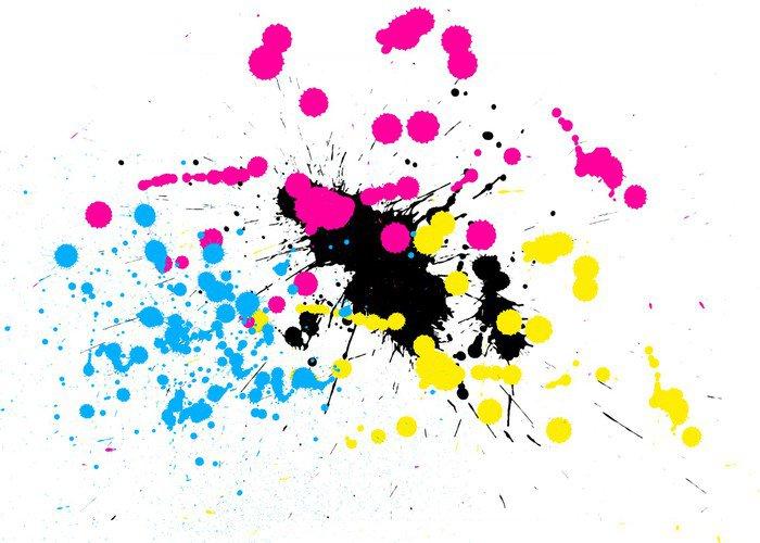 cuadro en lienzo manchas de pintura cmyk • pixers® - vivimos para