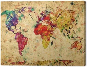 Cuadro en Lienzo Mapa del mundo del vintage. Colorido de la pintura, acuarela sobre papel grunge