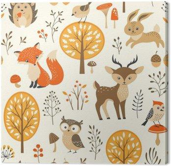 Cuadro en Lienzo Modelo inconsútil del bosque del otoño con los animales lindos