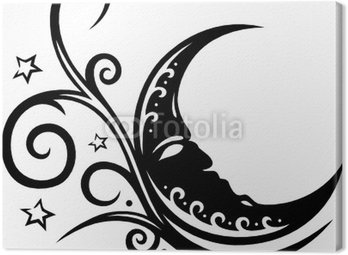 Cuadro en Lienzo Mond, luna, luna, tribal, tatuaje, filigran