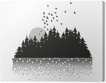 Cuadro en Lienzo Mond, Wald und See