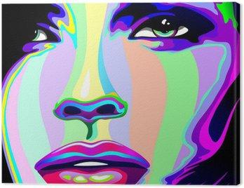 Cuadro en Lienzo Muchacha Retrato Psychedelic Psychedelic Rainbow-muchacha de la cara