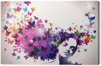 Cuadro en Lienzo Mujer con mariposas en el pelo.