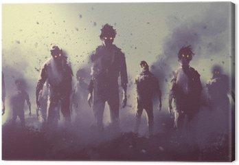 Cuadro en Lienzo Multitud de zombies caminando por la noche, el concepto de Halloween, pintura ilustración