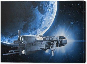 Cuadro en Lienzo Nave espacial con el planeta tierra