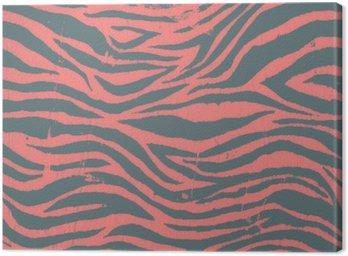 Cuadro en Lienzo Negro de la cebra de la vendimia y el patrón de color rojo
