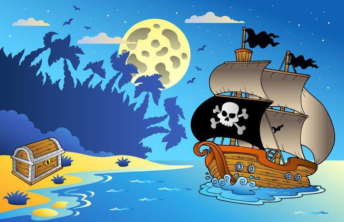 Cuadro en Lienzo Noche paisaje marino con un barco pirata -