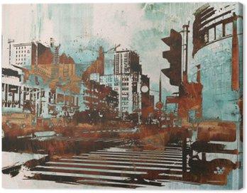 Cuadro en Lienzo Paisaje urbano con el grunge abstracta, pintura ilustración