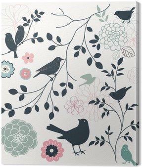 Cuadro en Lienzo Pájaro y flor