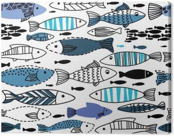Cuadro en Lienzo Patrón transparente bajo el agua con peces. Sin fisuras patrón se puede utilizar para fondos de pantalla, fondos de páginas web