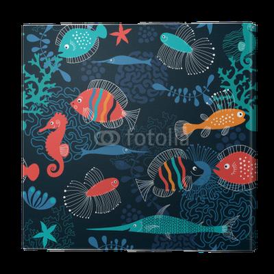 Cuadro en lienzo patr n transparente con peces pixers - Cuadros con peces ...