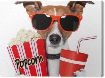Cuadro en Lienzo Perro mirando una película