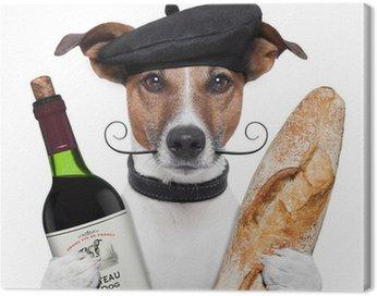Cuadro en Lienzo Perro vino francés baguette boina