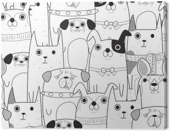 Cuadro en Lienzo Perros seamless pattern