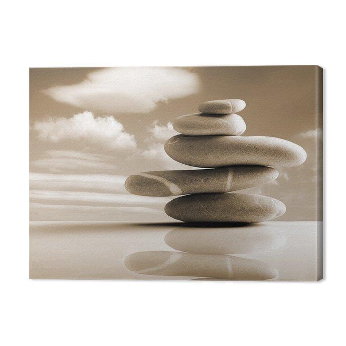 Cuadro en lienzo piedras pila estilo zen color sepia - Cuadros estilo zen ...
