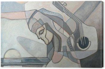 Cuadro en Lienzo Pintura abstracta con la mujer y la guitarra