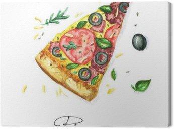 Cuadro en Lienzo Pintura de la acuarela de Alimentos - pizza