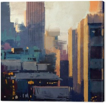 Cuadro en Lienzo Pintura de rascacielos al atardecer