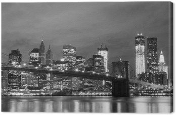 Cuadro en Lienzo Puente de Brooklyn y Manhattan horizonte en la noche, New York City