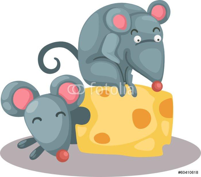 Cuadro en Lienzo Ratn de dibujos animados de comer un pedazo de