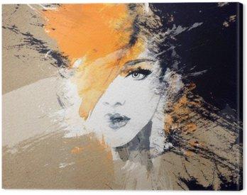 Cuadro en Lienzo Retrato de la mujer. acuarela abstracta. Fondo de la manera