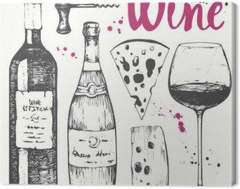 Cuadro en Lienzo Set de vino. productos de elaboración del vino en el estilo de dibujo.