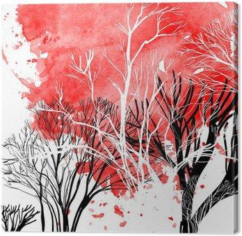 Cuadro en Lienzo Silueta abstracta de árboles