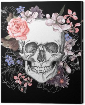 Cuadro en Lienzo Skull and Day Flowers of The Dead