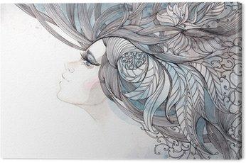 Cuadro en Lienzo Su cabello adornado con follaje
