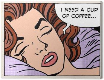 Cuadro en Lienzo Sueños de la mujer por la mañana taza de café