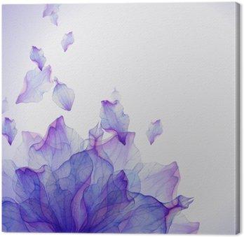 Cuadro en Lienzo Tarjeta de la acuarela con el pétalo de la flor púrpura