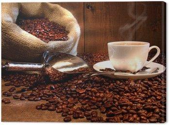 Cuadro en Lienzo Taza de café con saco de arpillera de granos tostados