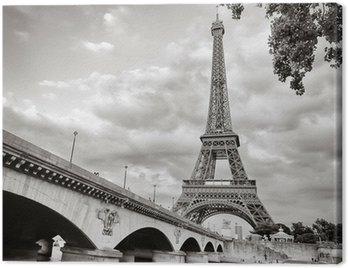 Cuadro en Lienzo Torre Eiffel vista desde el río Sena formato cuadrado
