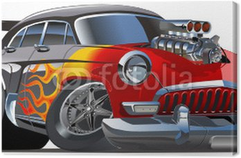 Cuadro en Lienzo Vector cartoon hotrod retro