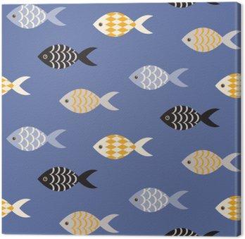 Cuadro en Lienzo Vector de pescado blanco y negro sin fisuras patrón. Banco de peces en filas en modelo océano azul. temático marino de verano.