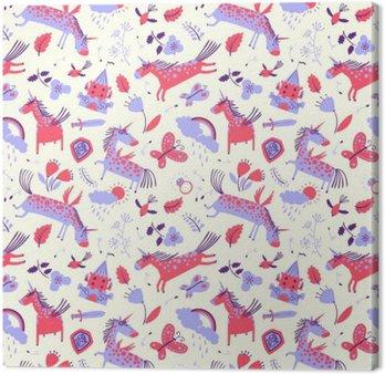 Cuadro en Lienzo Vector sin fisuras patrón floral linda con unicornios mágicos