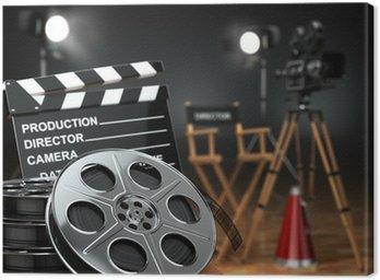 Cuadro en Lienzo Video, película, cine concepto. Cámara retra, carretes, claqueta