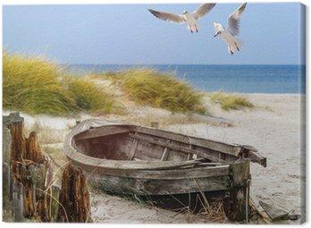 Cuadro en Lienzo Viejo barco de pesca, gaviotas, playa y mar