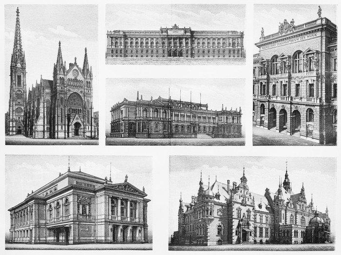 Cuadro en Lienzo Vintage dibujos que representan famosos edificios