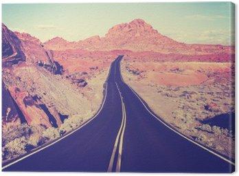 Cuadro en Lienzo Vintage tonificado carretera del desierto curva, el concepto de viaje, EE.UU.