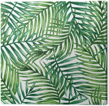 Cuadro en Lienzo Watercolor tropical palm leaves seamless pattern. Vector illustration.