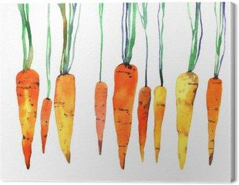 Cuadro en Lienzo Zanahoria pintado a mano de acuarela