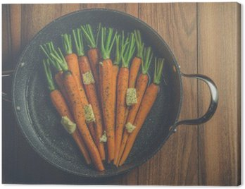 Cuadro en Lienzo Zanahorias rústicos en una olla grande en la madera